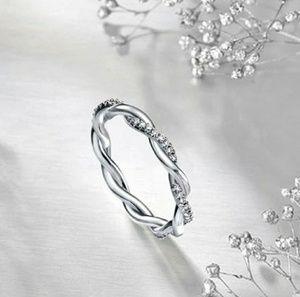 Jewelry - 14K White Gold .06ct Diamond Twist Stacking Ring